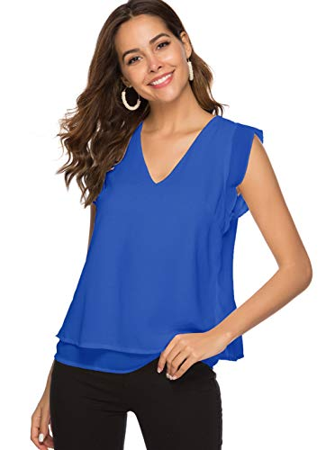 Alice CO Women's Summer Chiffon Cap Sleeve V-Neck Layered Blouse Shirts Casual Flowy Tank Tops (Medium, Royal Blue) ()