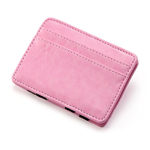 Unisex Slim Leather Card Holder Magic Money Clip Wallet (Pink) (Magic Money Clip)