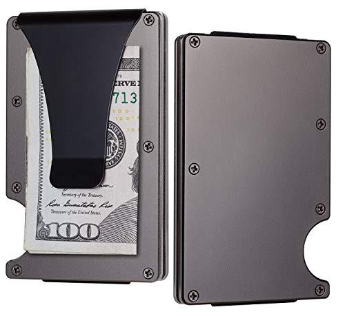 BSWolf Aluminum Slim Minimalist Front Pocket Wallet Credit Card Case Holder RFID Blocking (aluminum Metalic Gun)