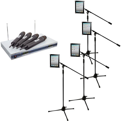 Pyle Mic and Stand Package - PDWM5500 4 Mic VHF Wireless Microphone System - 4x PMKSPAD1 Four Multimedia Microphone Stands With Adapter for iPad 2 (Adjustable for Compatibility w/iPad 1) by Pyle