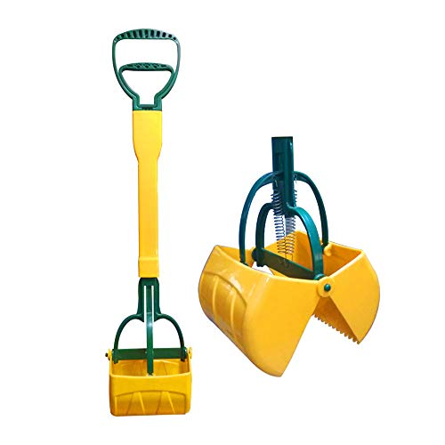 Pooper Scooper for Pet Waste,Best Long Handle Jaw Clamp Scooper with Poop Bags, Great in Grass, Gravel, Snow, Dirt, Cement (Yellow, 27 in)
