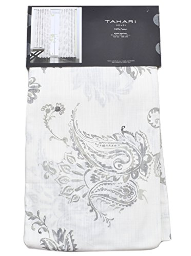 Tahari Home Philippa Window Panels 52 by 96-inch Set of 2 Floral Paisley Scrolls Window Curtains Cotton Panel Pair Hidden Tabs True Gray White Grey