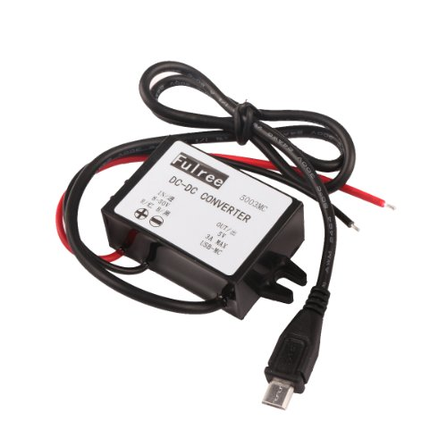 - DROK 090187 DC-DC Volt Buck Converter Step-down Regulator 8-50V 12V/24V/36V to 5V 3A Power Supply Module Volt Inverter Board with Micro USB Adapter Connector Waterproof