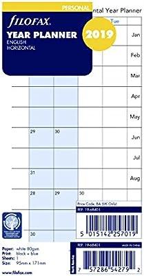 Horizontal December 2019 Calendar Page Amazon.: Filofax 2019 Personal/Compact Full Year Horizontal