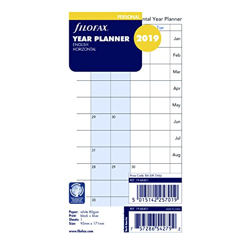 Filofax 2019 Personal/Compact Full Year Horizontal Planner Refill, Monthly, Jan 2019- Dec 2019, 6.75 x 3.75 inches (C68401-19) (Filofax Calendar Personal)