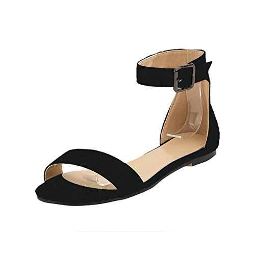 One Strap Sandal (ZriEy women's Classic Ultra Comfort Sexy Ankle Strap Buckle Low heel Sandals Flat shoes Velvet Black size 8.5)