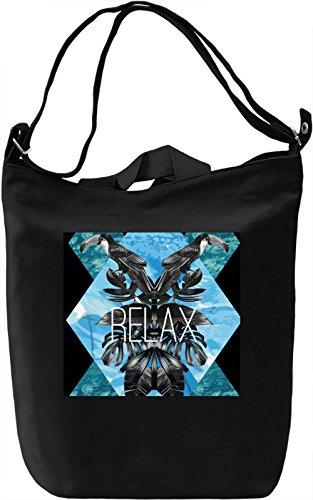 Relax Bird Print Borsa Giornaliera Canvas Canvas Day Bag| 100% Premium Cotton Canvas| DTG Printing|