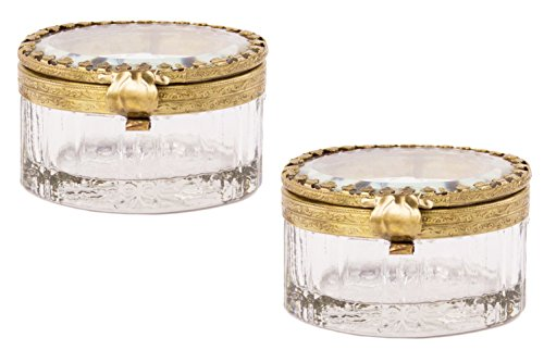French Vintage Crystal Glass Jewelry Box Case with Ornate Detailing - Set of 2, Petite