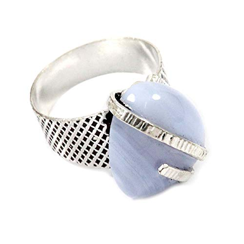 GoyalCrafts Natural Blue Lace Agate Gemstone Ring US-7 Silver Plated Fashion Jewelry GRF-72