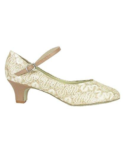 So Danca BL 116 para Salsa Rumba Tango Latino Danza Baile Salón suela de cromo 3,8 cm tela encaje dorado dorado