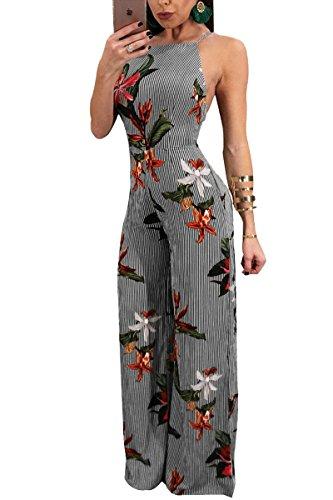 JireH Womens Floral Printed Spaghetti Strap Backless Wide Leg Chiffon Jumpsuit Playsuit