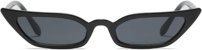 Vintage Frame Cat Eye Sunglasses Black Lens Retro Narrow Hip Hop Fashion Wide 90s Clear Rapper Party Gold Mens Womens Unisex Rounded