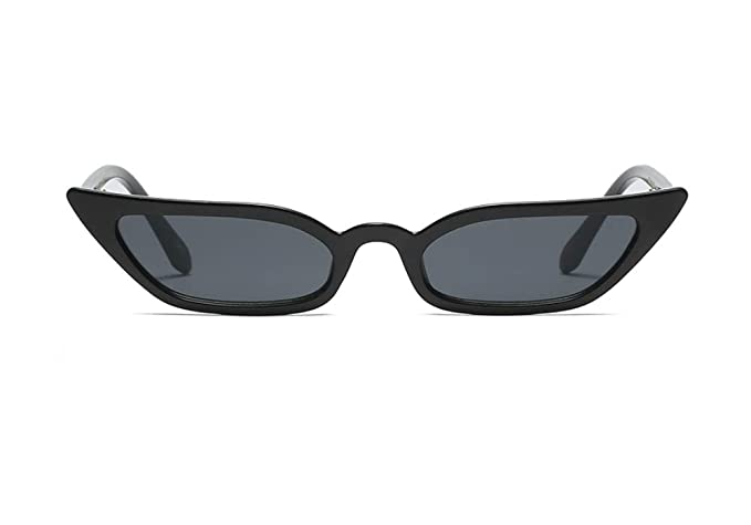 d209038a20 Semi Cateye Sunglasses Thin Narrow Skinny Small Pointed Clear Frame Trendy  Chic (Black