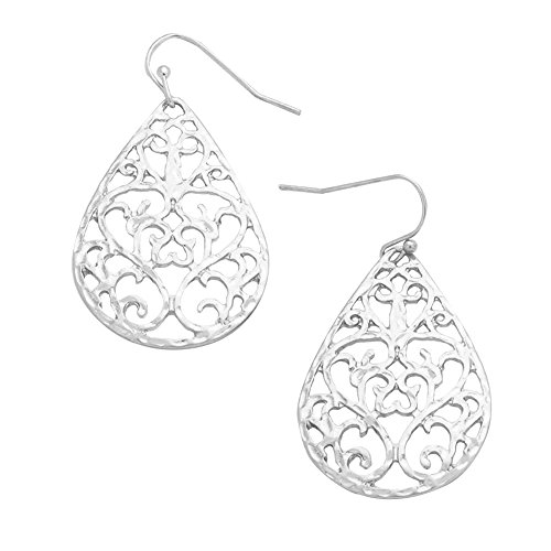 Nouveau Look Open Work Silver-Tone Filigree Scroll & Curlicue Design Teardrop Dangle Earrings 1 -