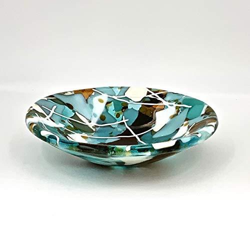 Glass Art Decorative Bowl in Sea Glass Beach Colors