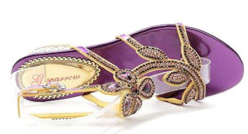Mujeres Cuero Piedras De Strass Metal Taladro Con Incrustaciones Punta Abierta Hecho A Mano Puro Fondo Plano Vestir Sandalias Purple