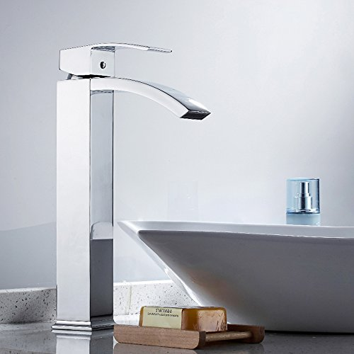 Square Vessel Waterfall Bathroom Faucet (LITTLEGRASS Bathroom Vessel Faucet Waterfall High Arc Bathroom Faucet Chrome Spout Square Bathroom Lavatory Vanity Sink Faucet Tall Spout Deck Mount Single Handle Single Hole)