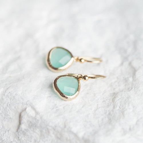 - Crystal Glass Aqua Blue Mint Green Drop Earrings