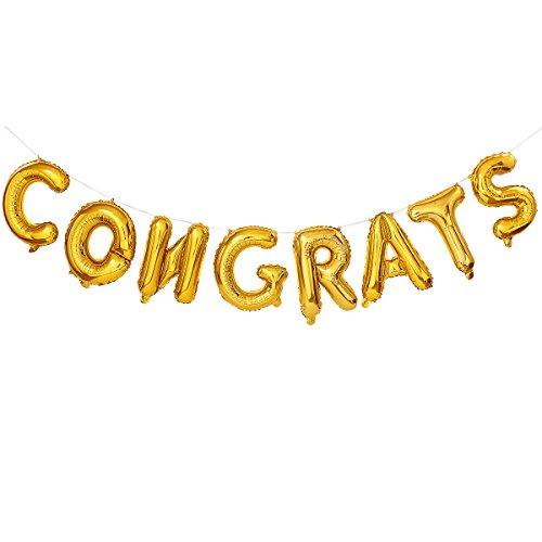 Congrats Grad Auto - 16 Inches Gold Congrats Balloon Banner,Gold Alphabet Graduation Foil Balloon Decorations,for Graduation,Grad Celebration,Birthday Anniversary Decoration