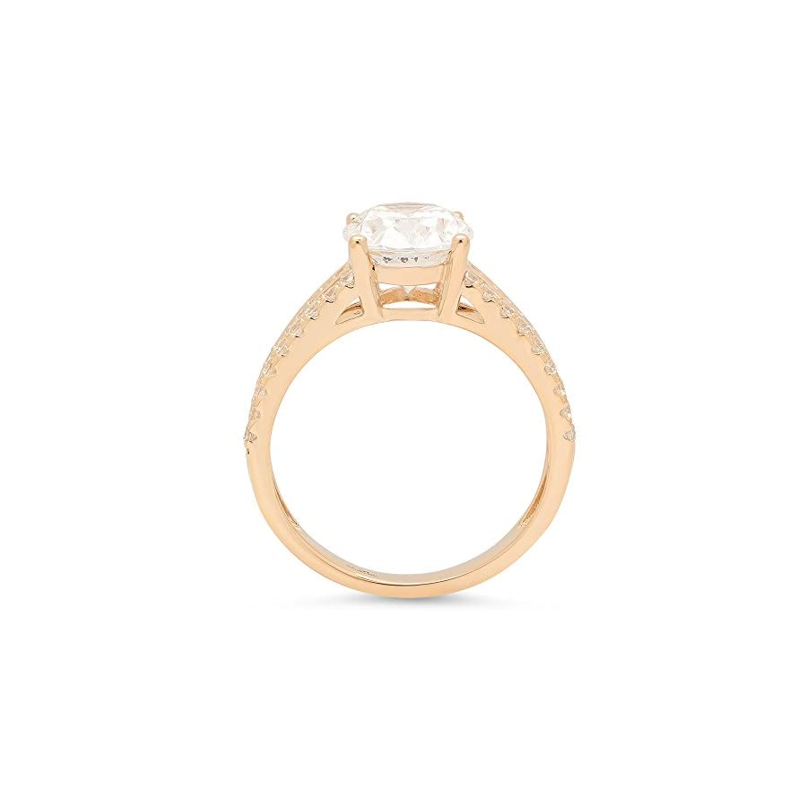 Clara Pucci Brilliant Oval Cut Engagement Wedding Anniversary Promise Ring Bridal Jewelry in Solid 14K Yellow Gold, 1.95CT