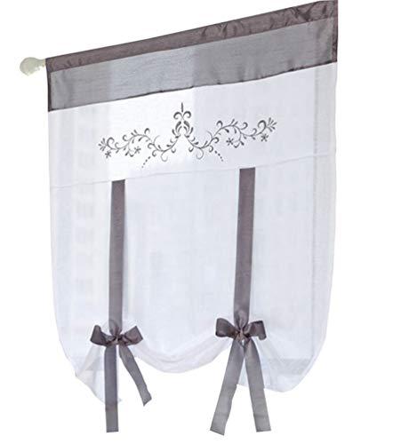 (ZebraSmile Lifable Voile Floral Bowknot Ribbon Tie Up Roman Curtain Rod Pocket Curtain Balloon Curtain Semi Sheer Kitchen Balloon Window Curtain, Cartoon, 31.5 x 39.5 Inch, Gray)
