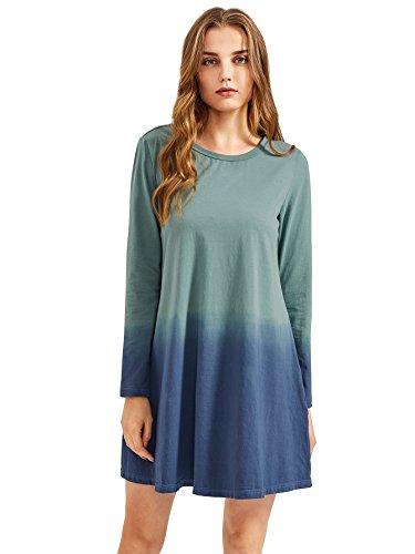 Short Women's Swing l Romwe 0 Ombre Sleeve Tie Dye Tunic Dress T Shirt Dress multicolored xHYdACqd
