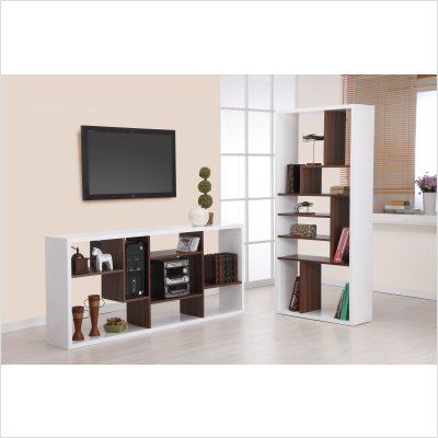 Brown White Open Bookcase Room Divider