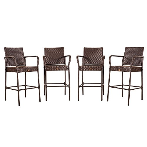 Cloud Mountain No Tax Updated Set of 4 Outdoor Wicker Rattan Bar Stool Bar Set Outdoor Patio Furniture Bar Stool Chairs Club Chair Patio Dining Chairs, Brown For Sale