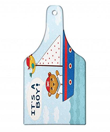 Ambesonne Ahoy Its a Boy Cutting Board, Cute Baby Shower The