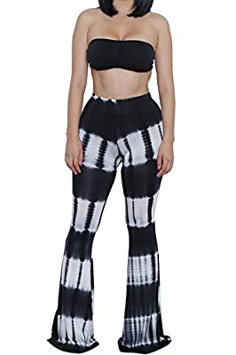 Pink Queen Women Sexy Tie Dye Print Bandeau Top Flared Bell Bottom Pants Outfits