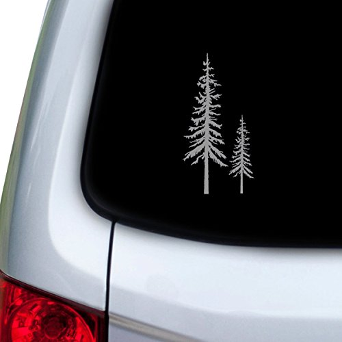 StickAny Car and Auto Decal Series Redwood Trees Sticker for Windows, Doors, Hoods (Silver)
