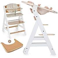 Hauck Beta Plus Newborn Set - Trona de madera evolutiva bebés, incluye hamaca para recién nacidos, cojín, bandeja, altura regulable - color blanco natural