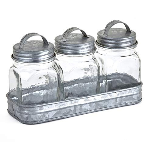 The Lakeside Collection Glass Canisters in Galvanized Tray - Farmhouse Spice Container Set of 3