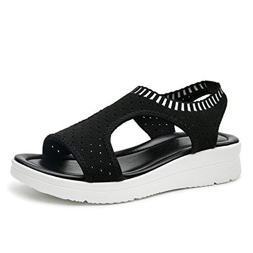 Shoes Summer Shoes White Black Qs808 Black Shoes Sandals Pajamasea Sandals Flat Wedge Platform Women qXZgwFC