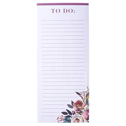 Graphique Watercolor Floral Magnetic Notepad, Colorful Flower Design w/ 2 Reverse-Side Magnets to Hang on Refrigerator or Whiteboard, 100 Lined Sheets, 4