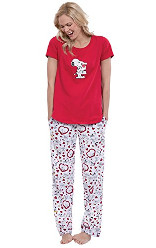 PajamaGram Officially Licensed Snoopy and hearts Women's Pajamas, Red, MD (8-10) (Red Snack Print)