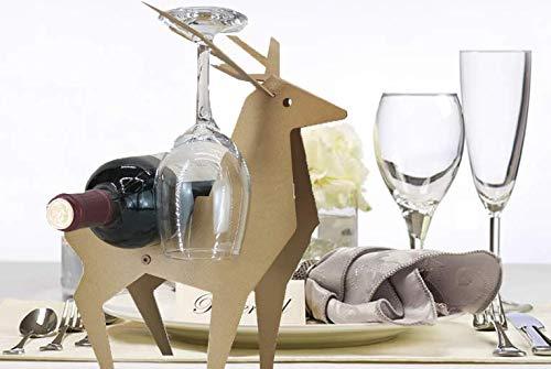 (H&K Wineversary Reindeer Wine Bottle Rack and Glass Holder (Gold))