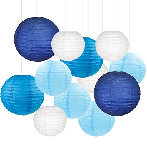 12PCS Paper Lanterns with Assorted Colors and Sizes Paper Lanterns Decorative,Chinese/Japanese Paper Hanging Decorations Ball Lanterns Lamps for Home Decor, Parties, and Weddings (Blue)