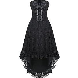 Burvogue Women's Lace up Steampunk Gothic Overbust Corset Dress