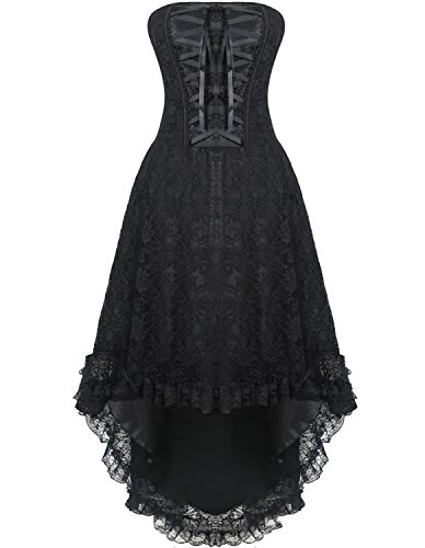 Burvogue Women's Lace up Steampunk Gothic Overbust Corset Dress Black