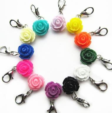 - Contains 12 Flower Zipper Charms with Lobster Clasp - Different Colors! Embellish Your Purse, DIY Arts & Craft, Pendant, Zipper Charm, Backpack, Keychain, Summer, Super Value! KandyCharmz 242