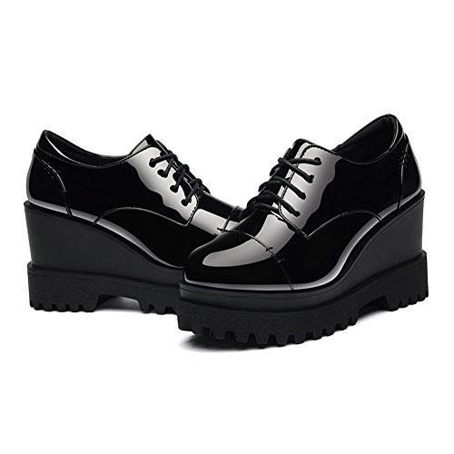 U-mac Femmes Anti-dérapant Sneakers Bout Rond Plate-forme Plus Épais Bas Casual Chaussures Noir