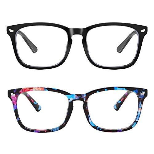 Blue Light Blocking Glasses, Anti Eye Strain Headache (Sleep Better),Computer Reading Glasses UV400 Transparent Lens (Black&Flower) (Glass Flower Blue)