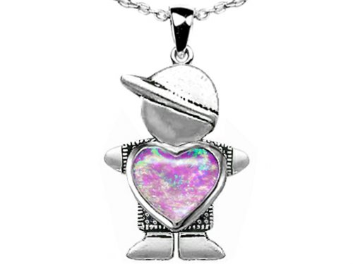 Star K Boy Holding 8mm Mother Heart October Birthstone Pendant Created Pink Opal