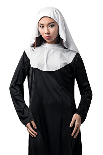 Sister Nun Costumes (Adult Women Nun Sister Novitiate Novice Vowess Abbess Costume Role Play Dress Up (Small/Medium, White))