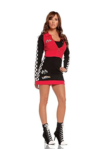 Race Costumes (Elegant Moments Women's High Speed Hottie, Black/Red, Small)