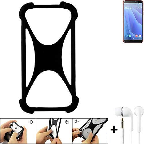 K-S-Trade Handyhülle + Headphones Kompatibel Mit HTC Desire 12s Schutzhülle Bumper Silikon Schutz Hülle Cover Case…
