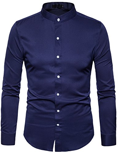 Whatlees Mens Solid Slim Fit Long Sleeve Mandarin Collar Casual Button Down Shirt T117 Navy Blue Large - Mandarin Collar