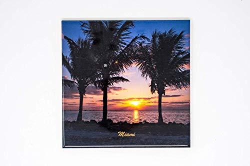 (Miami Palms Sunrise Ceramic Tile Trivet, Hand Imprinted Photograph)