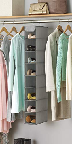 Whitmor Hanging Shoe Shelves - 8 Section - Closet Organizer - Grey